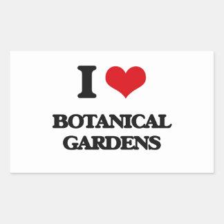 Amo jardines botánicos pegatina rectangular