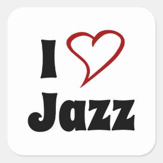 Amo jazz pegatina cuadrada