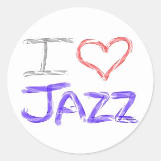 Amo jazz pegatinas redondas