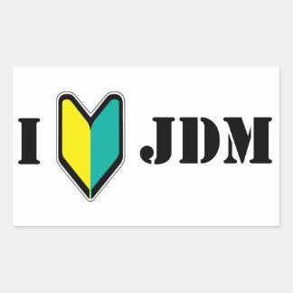 Amo JDM Rectangular Pegatina