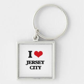 Amo Jersey City Llavero Cuadrado Plateado