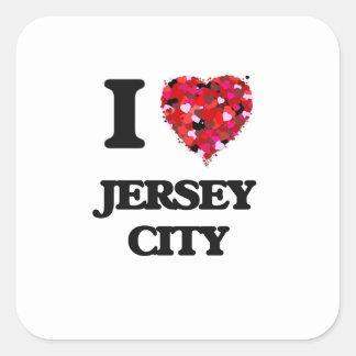 Amo Jersey City New Jersey Pegatina Cuadrada