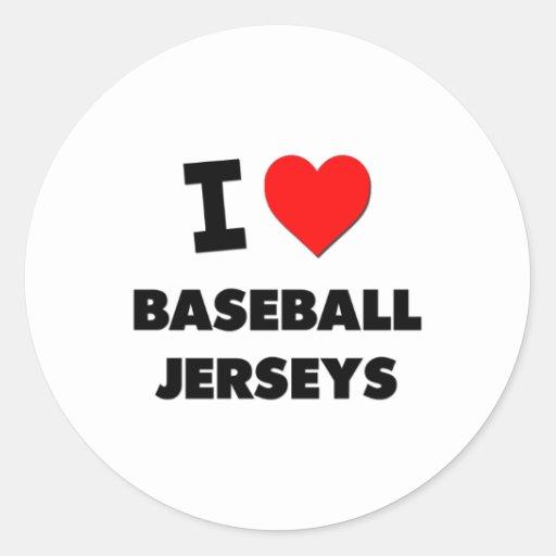 Amo jerseys de béisbol etiquetas redondas