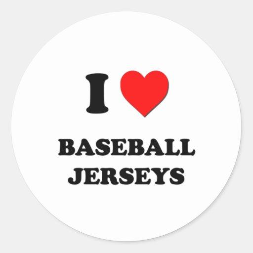 Amo jerseys de béisbol pegatinas redondas