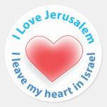 Amo Jerusalén - dejo mi corazón en Israel Etiquetas Redondas