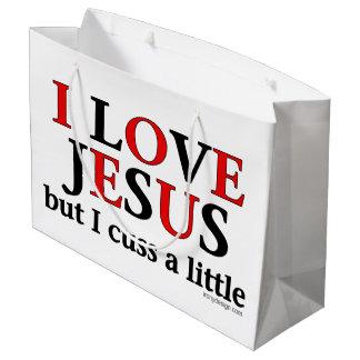 Amo Jesús [solamente me cuss un poco] Bolsa De Regalo Grande