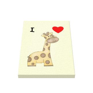 Amo jirafas 3 impresiones en lona estiradas