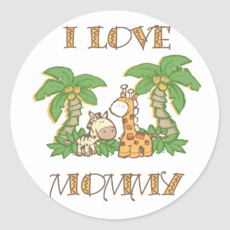 Amo jirafas de la mamá pegatina redonda