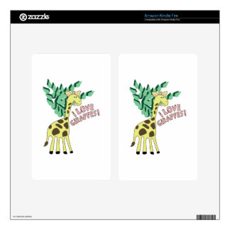 ¡Amo jirafas! Pegatinas Skins Para Kindle Fire
