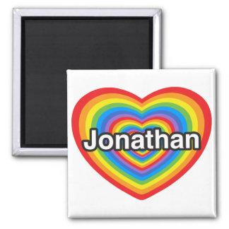 Amo Jonatán. Te amo Jonatán. Corazón Imán Cuadrado