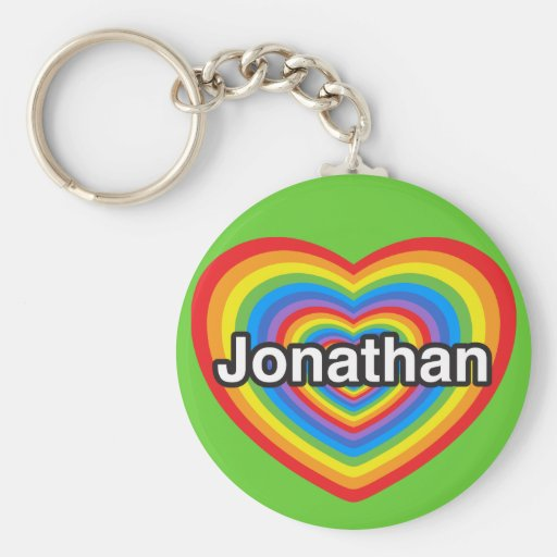Amo Jonatán. Te amo Jonatán. Corazón Llavero Redondo Tipo Pin