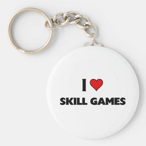Amo juegos de la habilidad llavero redondo tipo pin