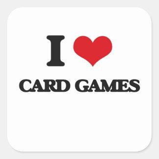 Amo juegos de tarjeta pegatina cuadrada