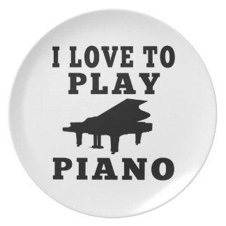 Amo jugar el piano plato para fiesta