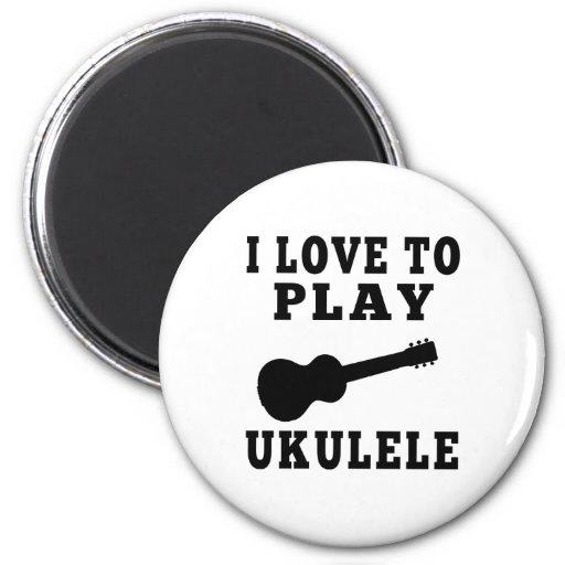 Amo jugar el Ukulele Imán Redondo 5 Cm