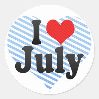 Amo julio etiqueta redonda