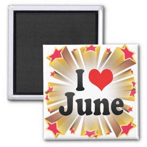 Amo junio imán cuadrado