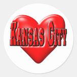 Amo Kansas City Etiquetas Redondas