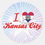 Amo Kansas City, Missouri Etiquetas Redondas