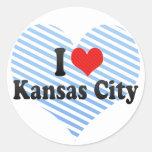 Amo Kansas City Pegatina Redonda