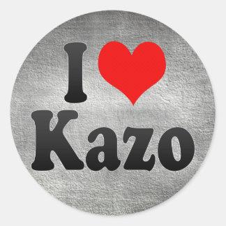 Amo Kazo, Japón Pegatina Redonda