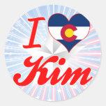 Amo Kim, Colorado Pegatinas Redondas