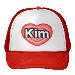 Amo Kim. Te amo Kim. Corazón Gorro De Camionero
