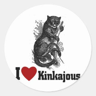 Amo Kinkajous Pegatina Redonda