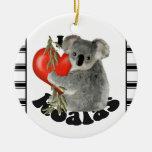 Amo koalas adorno navideño redondo de cerámica