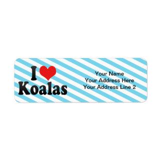 Amo koalas etiqueta de remitente
