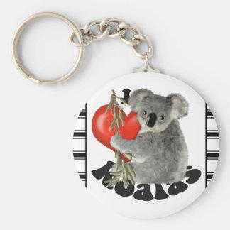 Amo koalas llavero redondo tipo pin
