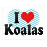 Amo koalas tarjeta postal