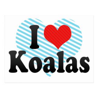 Amo koalas tarjetas postales