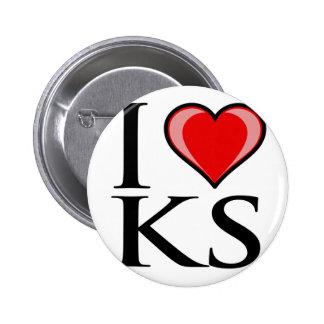 Amo KS - Kansas Pin Redondo De 2 Pulgadas