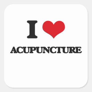 Amo la acupuntura pegatina cuadrada