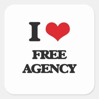 AMO la agencia libre Pegatina Cuadradas Personalizadas