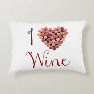 Amo la almohada del acento del vino cojín