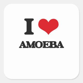 Amo la ameba pegatina cuadrada