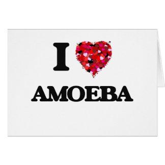 Amo la ameba tarjeta de felicitación