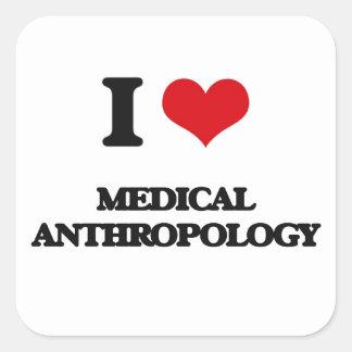 Amo la antropología médica pegatina cuadrada
