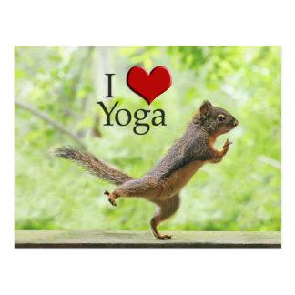 Amo la ardilla de la yoga postales