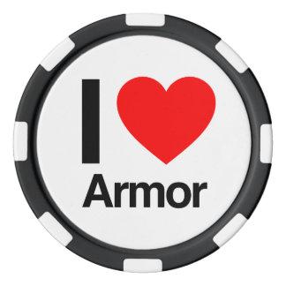 amo la armadura fichas de póquer