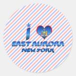 Amo la aurora del este, Nueva York Pegatina Redonda