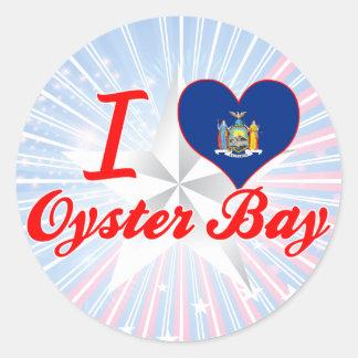 Amo la bahía de la ostra, Nueva York Pegatina Redonda