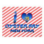 Amo la bahía de la ostra, Nueva York Tarjeta Postal