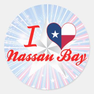 Amo la bahía de Nassau, Tejas Pegatina Redonda