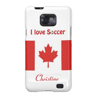 Amo la bandera Bola-Canadiense del fútbol/del fútb Samsung Galaxy SII Carcasa