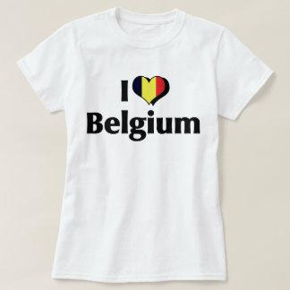 Amo la bandera de Bélgica Remera