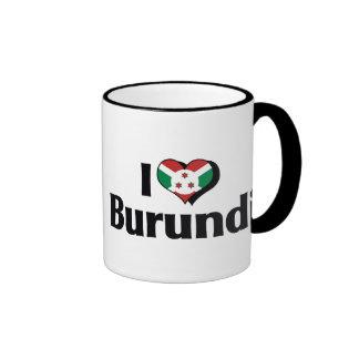 Amo la bandera de Burundi Taza De Dos Colores