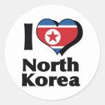Amo la bandera de Corea del Norte Pegatina Redonda